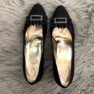 Authentic Vintage Ferragamo black satin heels.